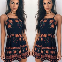 ZOGAA Women Summer Dress 2019 Beach Boho Floral Print Sexy Spaghetti Strap Flare Sleeve Empire Slash Neck Mini Sundress