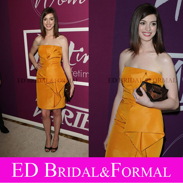 Anne Hathaway font b Dress b font at Varietys 1st Annual Power of Women Luncheon Red