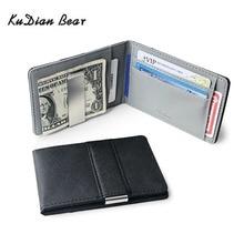 KUDIAN BEAR Slim Leather Men Money Clip Wallet Brand Designer Bilfold Clamps for Carteras Hombre BID261 PM49