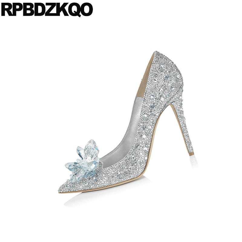 4d468c93129 Stiletto Silver Crystal Wedding Shoes High Heels Cinderella Size 33  Rhinestone Ladies Diamond Pointed Toe Pumps Big Jewel Brand