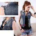 Venda quente! Mulheres da moda Denim Jean Curto Jaquetas de Rebite Sem Mangas Cardigan Denim Vest Colete Brasão Jacket