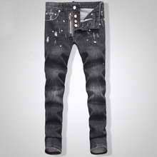 TOP Men's new Biker Oil Printed Jeans Classic Mens Fashion Brand High Quality Skinny Patchwork Denim for d2Jeans man1467