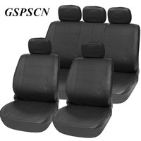 2017 Newst Black PU Leather Luxuriou Auto Universal Car Seats Covers With Five Seat Pillowcase For