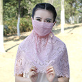 New 3pcs Cute Cotton Lace Mouth Muffle Face Mask,women Girl Sunscreen Face Mouth Gauze Neckguard Mask Healthy Dust Masks