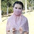 Novas 3 pcs Bonito Rendas de Algodão Boca Mufla Máscara Facial, Protetor Solar Da Menina das mulheres Boca Rosto Gaze Máscara Saudável Neckguard Máscaras contra poeira