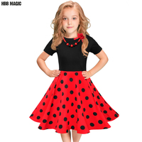 Summer Girls Dress Cotton Short Sleeve Polka Dot Kids Dresses For Girls Clothes Children Party Princess
