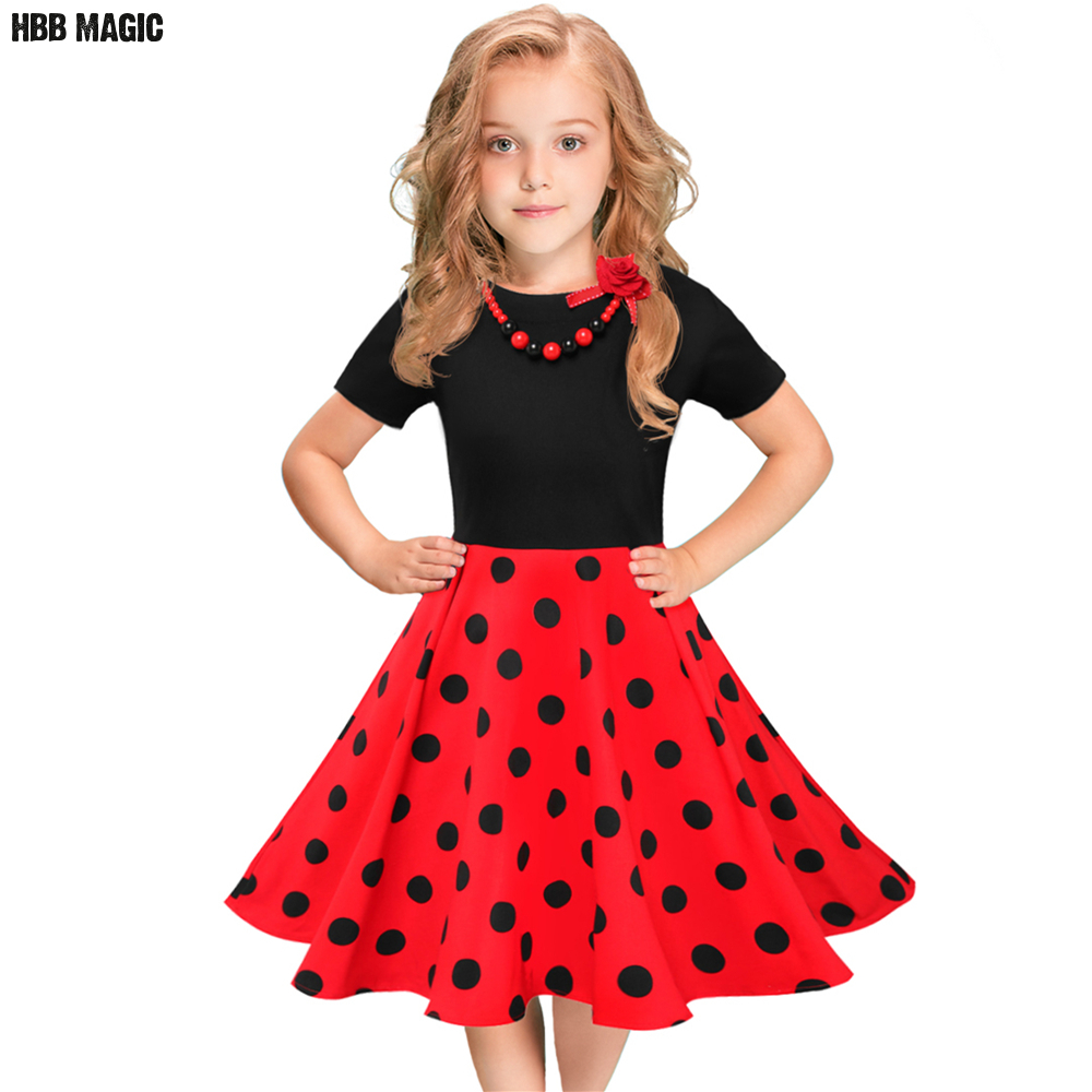 цена Summer Girls Dress Cotton Short Sleeve Polka Dot Kids Dresses For Girls Clothes Children Party Princess Dress with Necklace 5-12