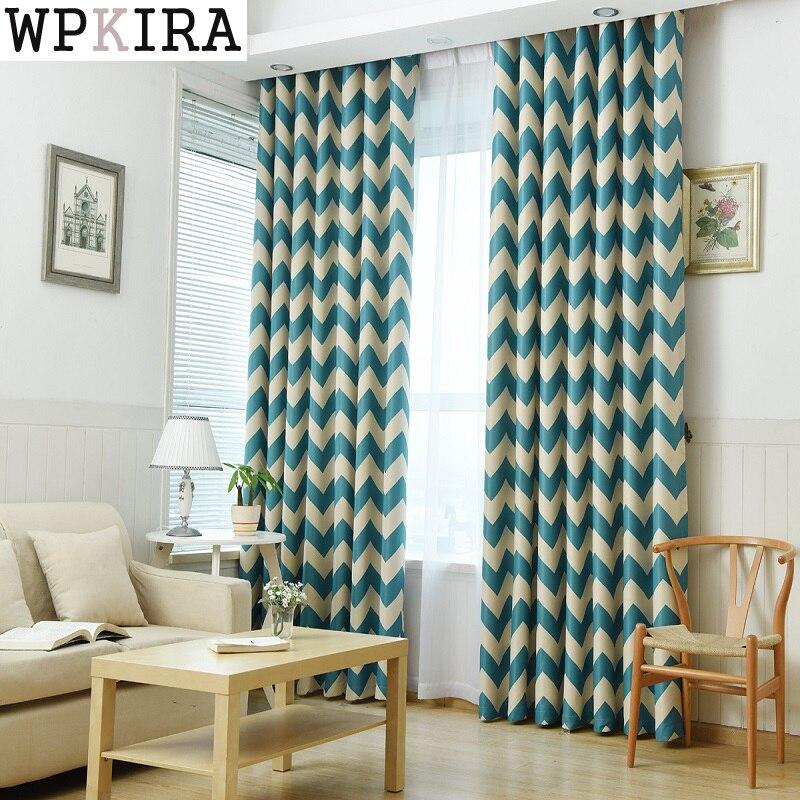 azul a rayas impreso blackout cortinas para la sala de estar moderna cortinas cortinas de la