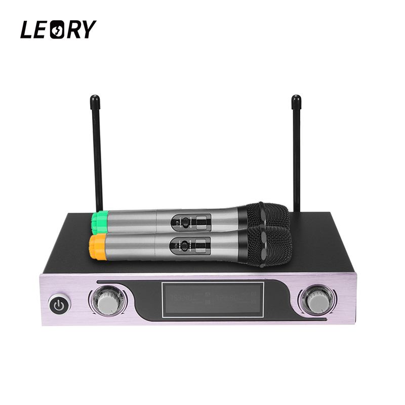LEORY Professional Karaoke Microphone System With Receiver Dual Wireless Handheld Microphones Mic For Home DIY KTV Singing boya by whm8 professional 48 uhf microphone dual channels wireless handheld mic system lcd display for karaoke party liveshow