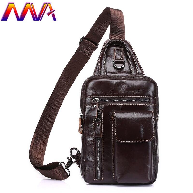 MVA vente Chaude 100% cuir véritable hommes poitrine sac pour hommes d'affaires de la mode sac de taille de téléphone titulaire poitrine sac taille pack