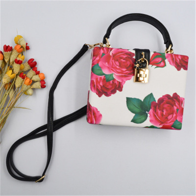 Fashion Women PU Party Handbag Totes Floral Rose Print Ladies Female Shoulder Bag Messenger Bag Purse
