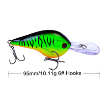 1PCS Fishing Lure Deep Swimming Crankbait 9.5cm 10g Hard Bait Tight Wobble Slow Floating Fishing Tackle цены