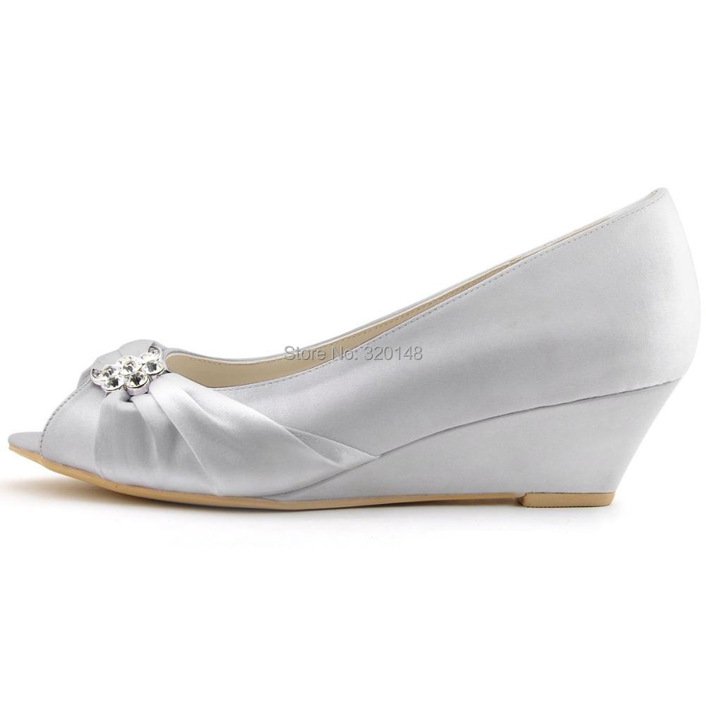 EP2009 Woman Shoes White Ivory High Heel Peep Toe Satin Bridesmaid Bride  Wedding Bridal Wedges Lady Prom Party Pumps Silver BlueUSD 40.99-49.99 pair ee74a3fb7983