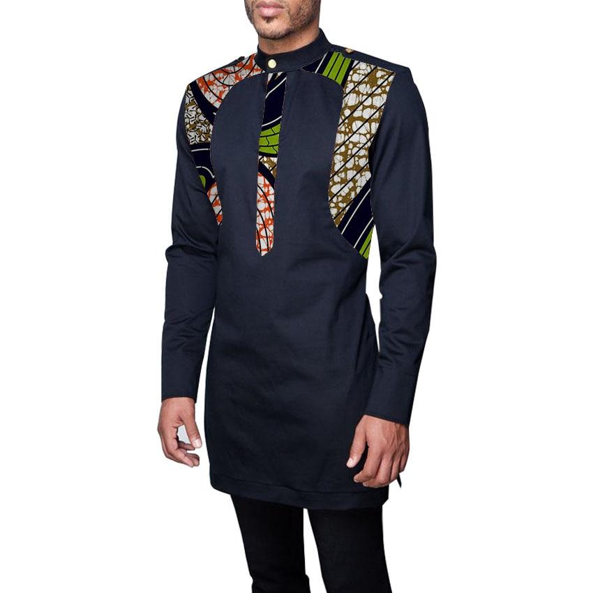 Patchwork miesten afrikan vaatteet miehet dashiki paidat seisomaan kaulus muoti pitkähihainen paita mittatilaustyönä afrikkalainen vaatteita