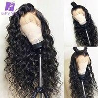 Луффи бразильский предварительно сорвал Full Lace натуральные волосы парики с ребенком волос Glueless non реми волос волна воды натуральный черный д