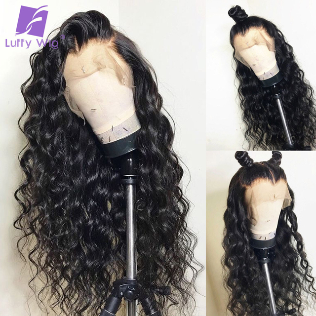 Luffy Brazilian Pre Plucked Full Lace Human Hair Wigs With Baby Hair Glueless Non-remy Hair Water Wave Natural Black For Women