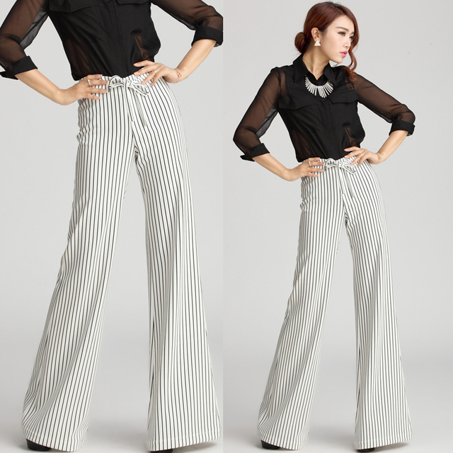 European Style Winter Autumn Fashion Formal Womens Black With White Striped Wide Leg Trousers ...
