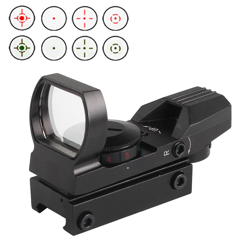 Hunting Outdoor 4 Reticle Reflex Tactical 1X22X33 Holographic Red Dot Sight Scope Fit 20mm Rail 5-0010