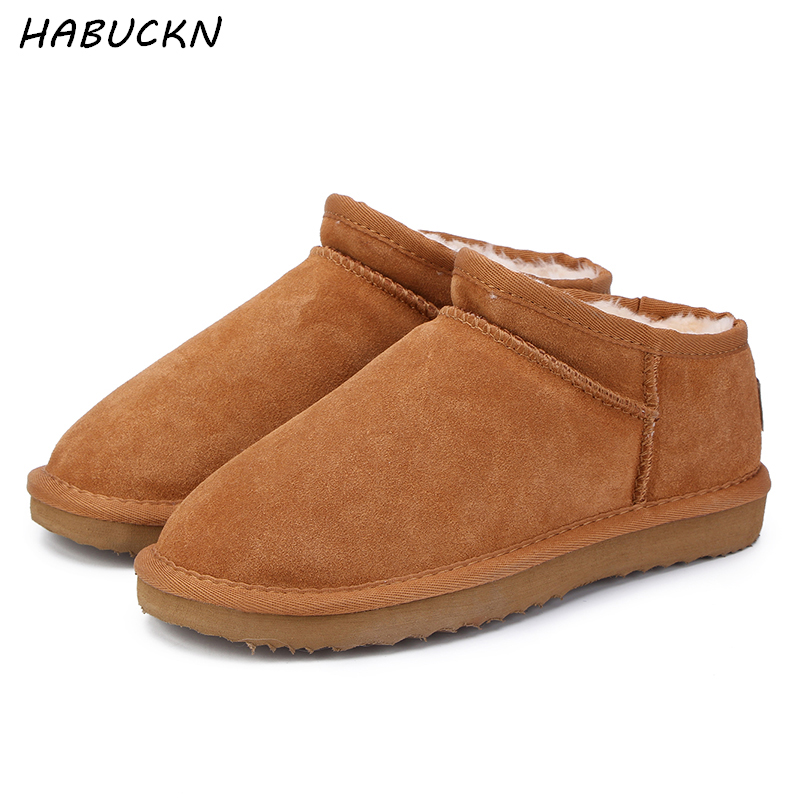 HABUCKN Women Australia Classic Style Ug Snow Boots Winter Warm Leather Flats Warterproof High-quality Ankle Boots large size