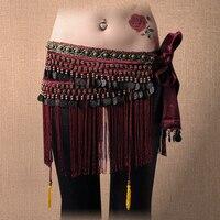 מכירה חמה שבטי ריקודי בטן ירך ציצית נשים חגורות 3 צבעים צעיף קטיפה עם חגורת מטבע ריקודי בטן שוליים חרוזים ומטבעות