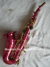 Wholesale -small bend soprano saxophone in B flat pink body golden key
