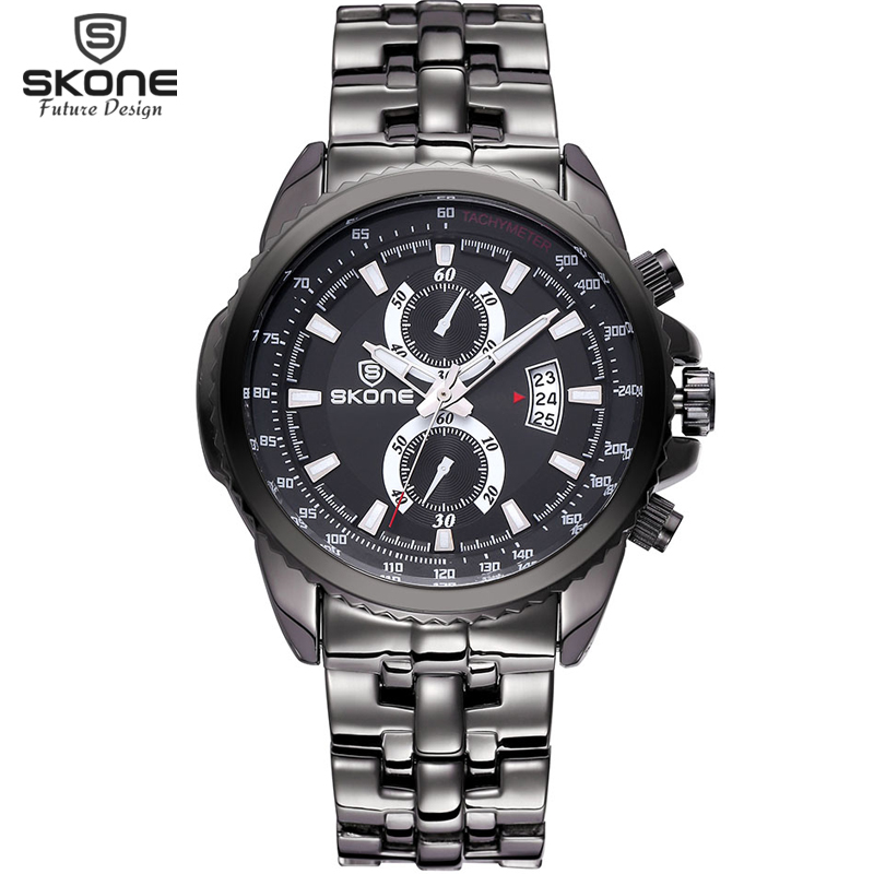 Skone Mens Watches Top Brand Luxury Sport Quartz Watch 3ATM Waterproof Mens stainless steel Wrist watch Relogio Masculino 2017 skone relogio 9385