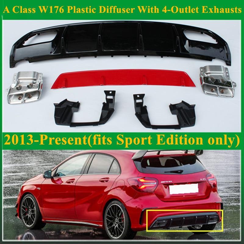 Diffuseur ABS A45 AMG + embout d'échappement 4 sorties en acier inoxydable 304 pour Mercedes W176 édition Sport 2013 classe A A180 A200