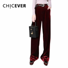 [CHICEVER] 2116 Autumn Homemade Hot Velvet High Waist Casual Wide Leg Long Pants Women Winter New Fashion Trousers
