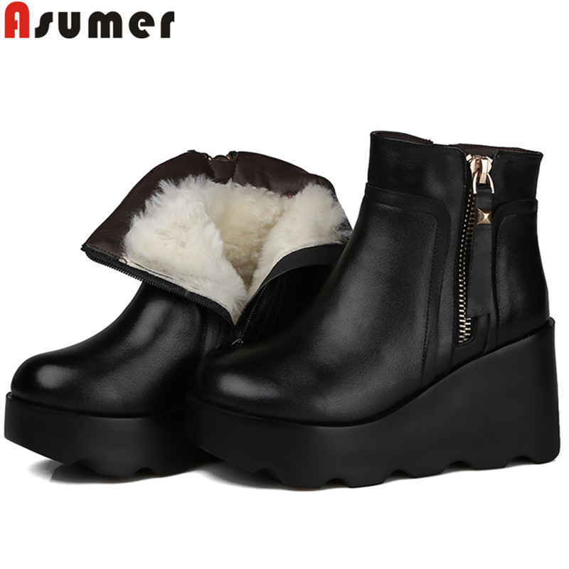 ASUMER black fashion winter snow boots round toe zip genuine leather boots platform wedges ankle boots