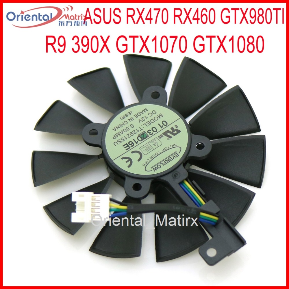 Free Shipping T129215SU 12V 0.5A 87mm For ASUS Strix RX470 RX460 GTX980TI R9 390X GTX1080 Graphics Card Cooling Fan free shipping for gtxtitan 6gd5 6g seconds 1070 980 1060 970 780 rx 470