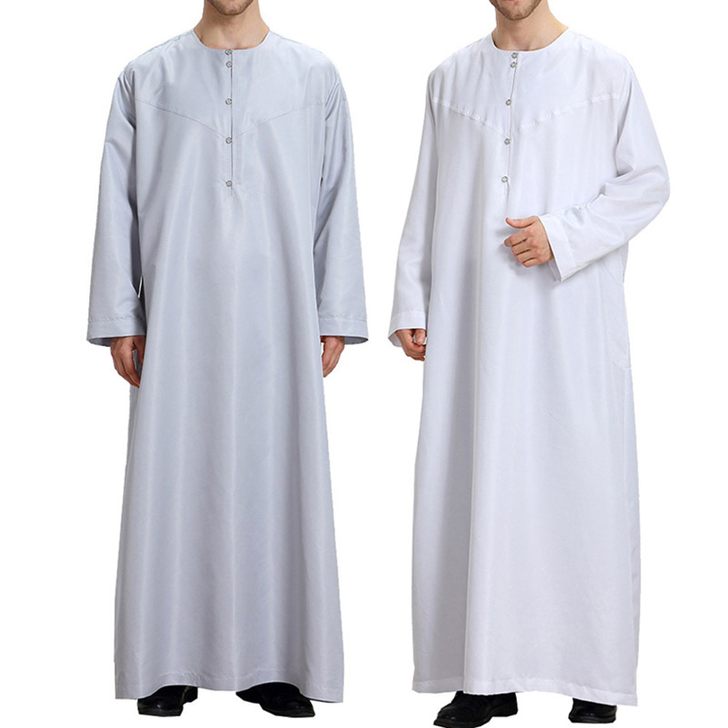 Arab Muslim Clothing for Men The Middle East Arab Male People Dress Thobe Arabic Islamic Abayas Dress Indian Mens Kaftan Robe pocket