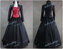 Gothic Victorian Brocaded Jacquard Dress Gown H008