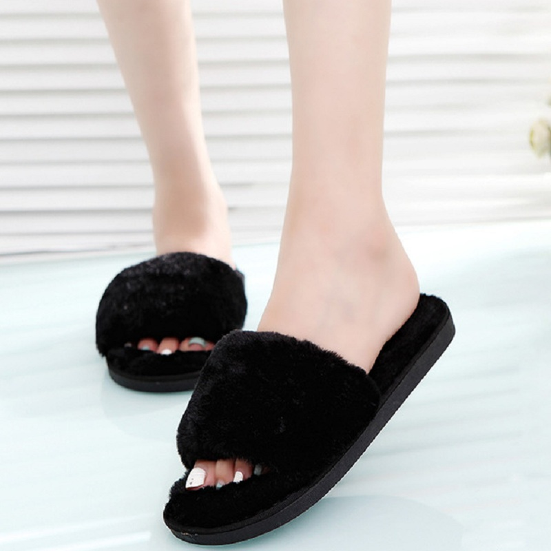 Fluffy Fur Women Plush Slippers Fashion Winter Home Fur Slides Female Casual Shoes Woman Sandals Indoor Chaussure Femme flat fur women slippers 2017 fashion leisure open toe women indoor slippers fur high quality soft plush lady furry slippers