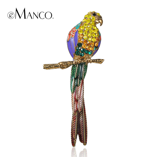 eManco Classic Top Brand Luxury Kawaii Animal Cute Parrot Birds Brooches for Women Multi Color Rhinestone Gold Plated Jewelry