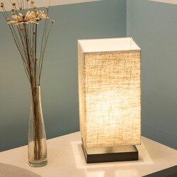 Drewniana lampa stołowa z abażurem z tkaniny drewno nocne biurko światła nowoczesne lampy Book E27 110V 220V oświetlenie do czytania oprawa