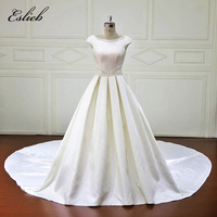 Vintage Simple Fashion Chapel Tail Wedding Dress Long Train A Line Pearls Bridal Gown Cap Sleeves Backless O Neck High end Gown
