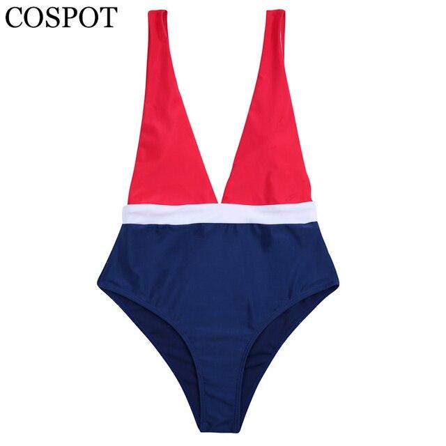 COSPOT Women One Piece Swimsuit 2019 Sexy Swimwear Patchwork Bathing Suits Backless Monokini Swimsuit Beachwear Female Bodysuit