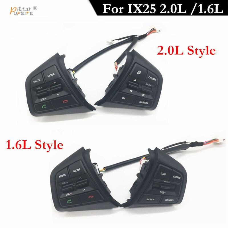 Botón de Control remoto de crucero PUFEITE para Hyundai ix25 1,6/para el interruptor de los botones de Control del volante del coche creta 2,0 con cables