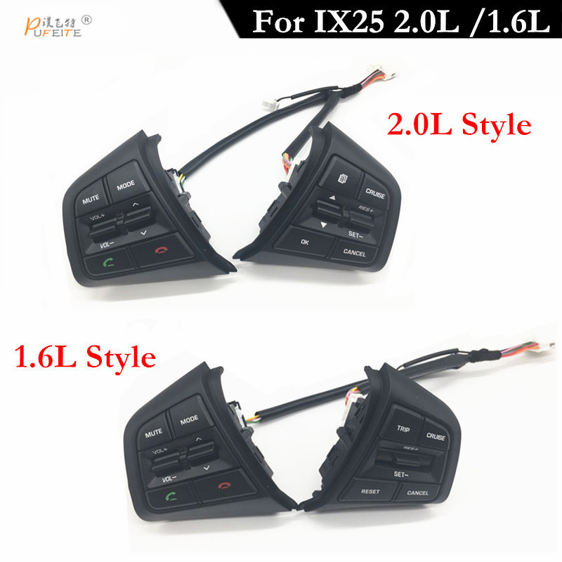 PUFEITE Remote Cruise Control Button  For Hyundai ix25 1.6 / for creta 2.0 Car Steering Wheel Control Buttons switch with cables
