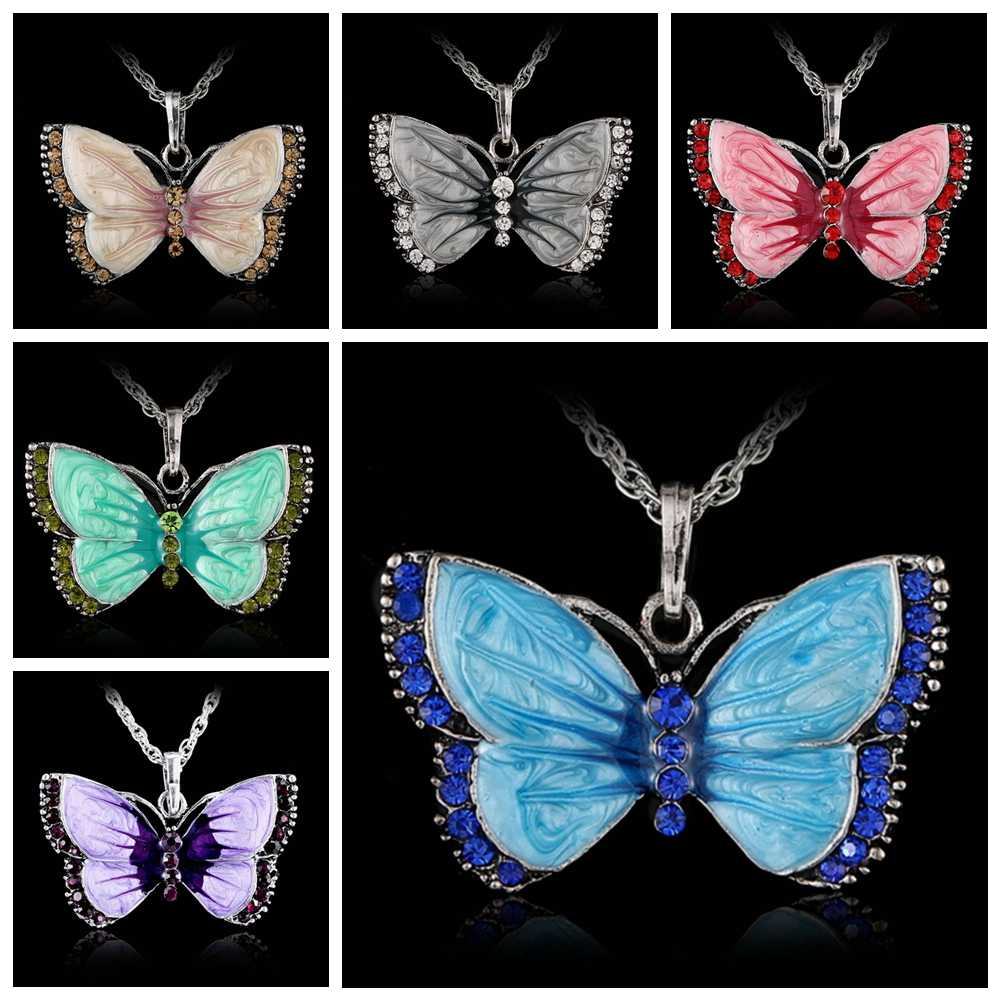 Vintage Butterfly Pendant necklace for women Girl dress Clothing Costume Jewelry animal necklace