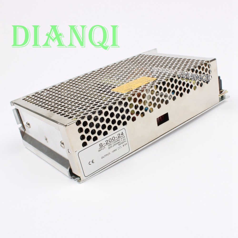 DIANQI power supply 200w 24v 8.5A  power suply 24v 200w ac to dc power supply unit ac dc converter  high quality S-200-24 dmwd power suply 24v 201w ac to dc power supply ac dc converter high quality s 201 24