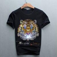 도매 뜨거운 판매 판매 목 남성 럭셔리 다이아몬드 디자인 Tshirt 패션 티셔츠 재미 T 셔츠 브랜드 코튼 탑 티 2017