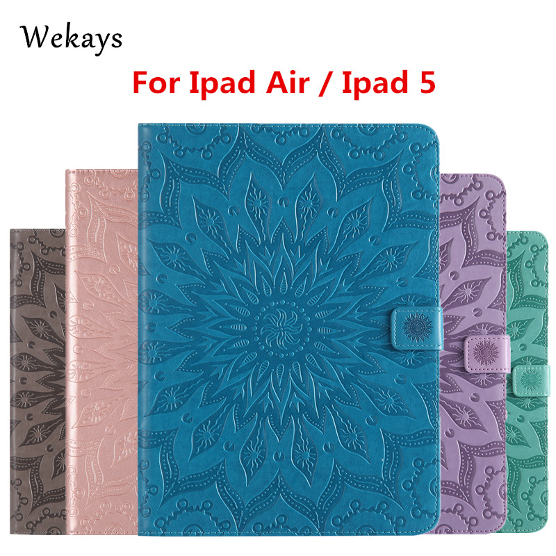 Wekays For Apple IPad Air IPad 5 Sun Flower Smart Leather Flip Fundas Case For Coque IPad Air IPad 5 IPad5 9.7 Tablet Cover Case 10pc lot dhl free new arrival official original fashion smart case for apple ipad air ipad5 ultra thin filp cover case