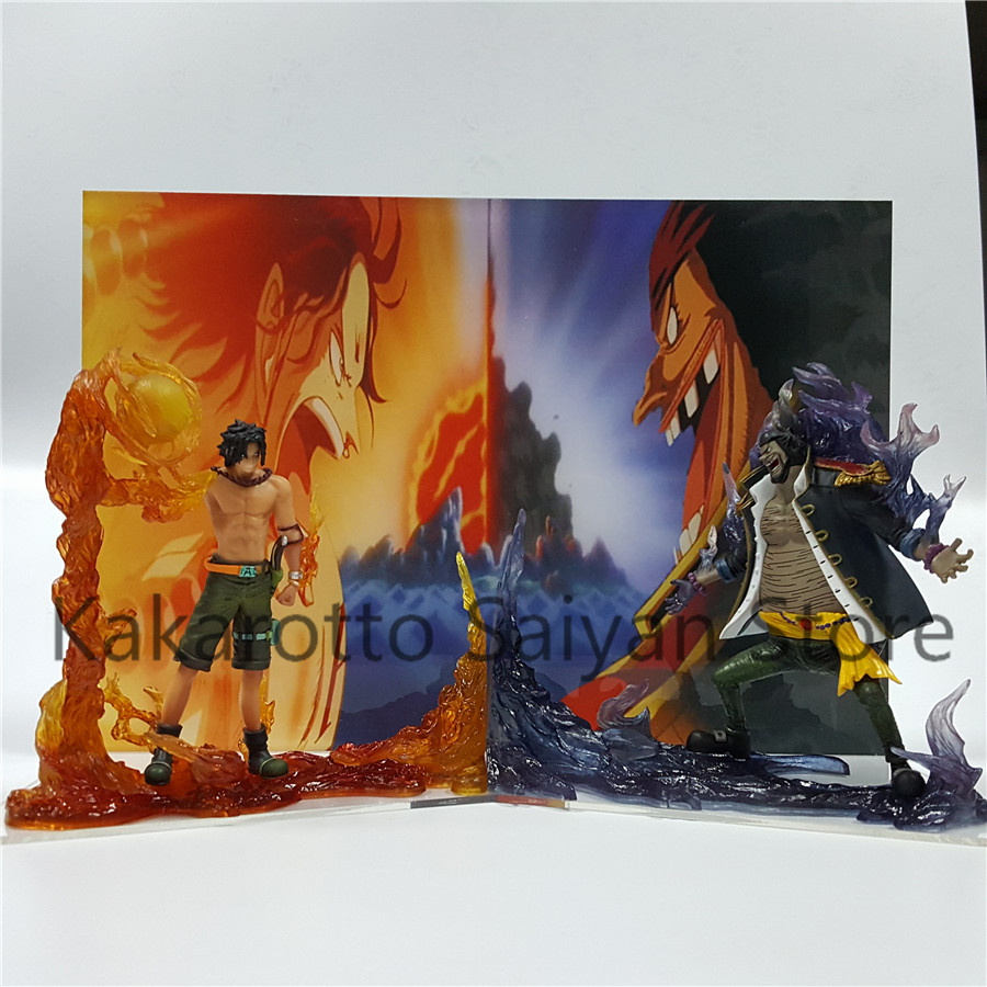One Piece Action Figure ACE VS Teach Dai EnKai One Piece Anime PVC Collectible Model Toy Acrylic Background anime one piece fire fist ace handsome model garage kit pvc action figure classic collection toy doll