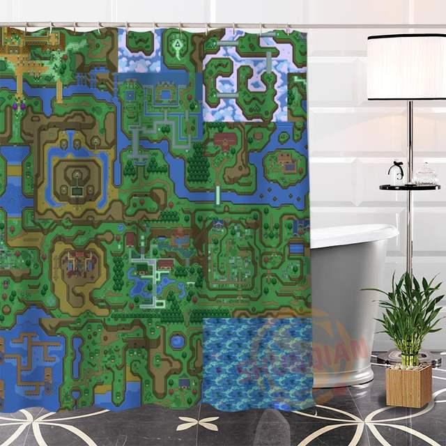 Online Shop Custom The Legend Of Zelda Map Shower Curtain Waterproof