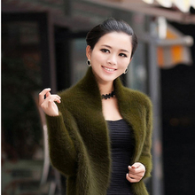 Spring and autumn women's cashmere sweater solid color knit long-sleeved cardigan fashion wild short jacket cashmere sweater new