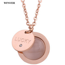 WFSVER Stainless Steel Round Opal Lucky Letter Pendant Necklace Rose Gold/Silver Color For Women Fashion Chain Jewelry