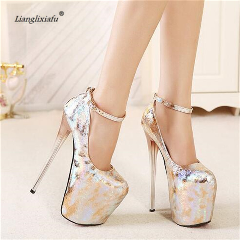 LLXF Buckle zapatos Plus:34-41 42 43 Crossdresser Sexy 19cm transparent High-heeled Shoes woman Stiletto Patent Leather Pumps faux pearl detail dress