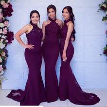 Robe Demoiselle D'honneur Sexy Halter Mermaid Bridesmaid Dresses Long Beaded Appliques Formal Dresses for Wedding Party(China)