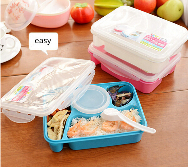 1pc bento lunch box fully sealed food 4 compartment bento box soup bowl with plastic scoop. Black Bedroom Furniture Sets. Home Design Ideas